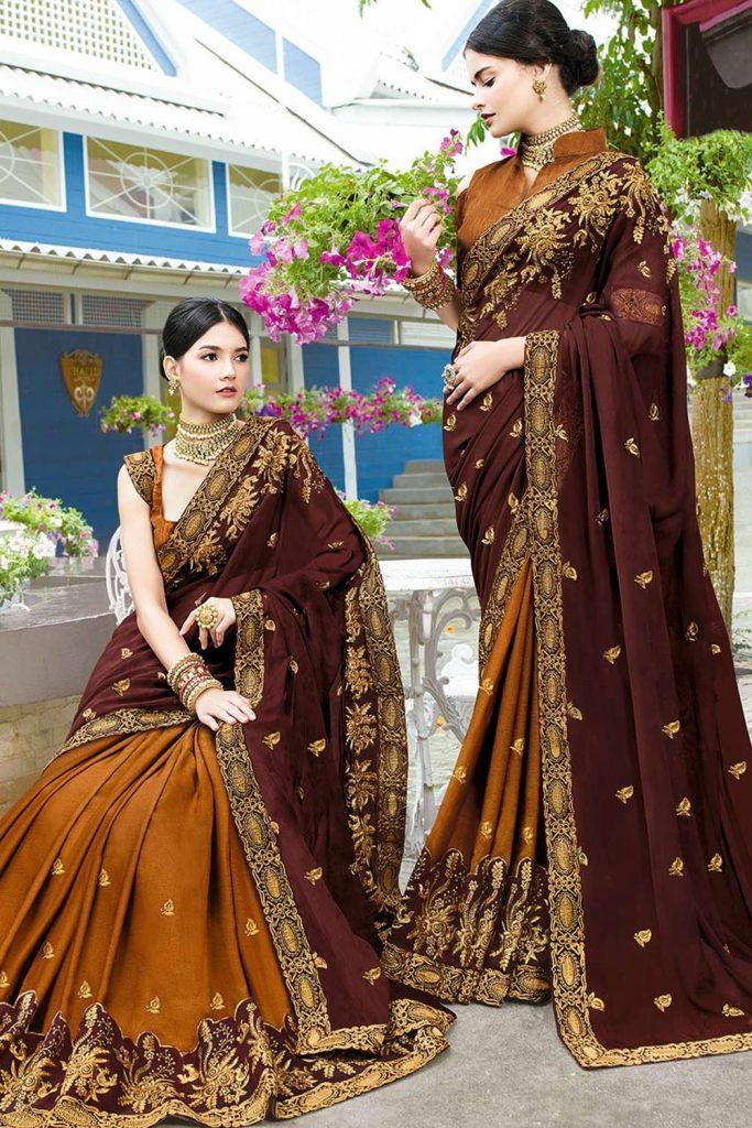 Brown Silk Indien mariage Sari - Shopkund