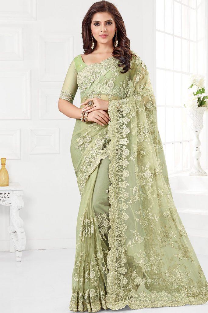 Vert Net Indien Sari en ligne - Shopkund