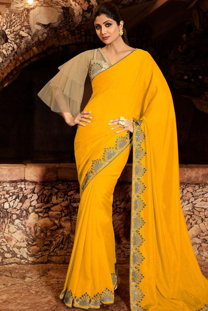 Bollywood Sari en Jaune - Shopkund
