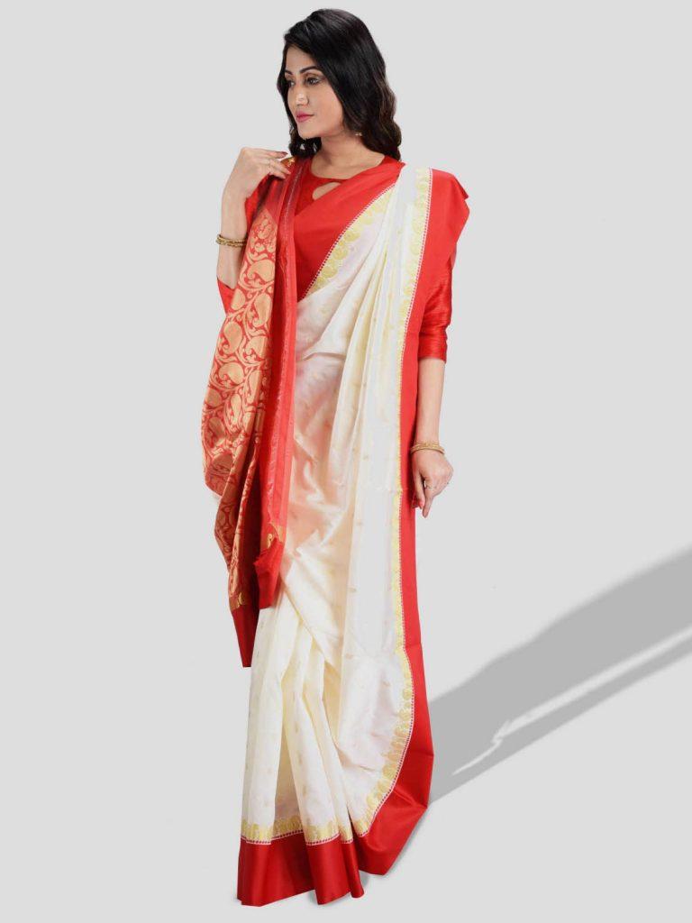 saree bengali rouge - Shopkund