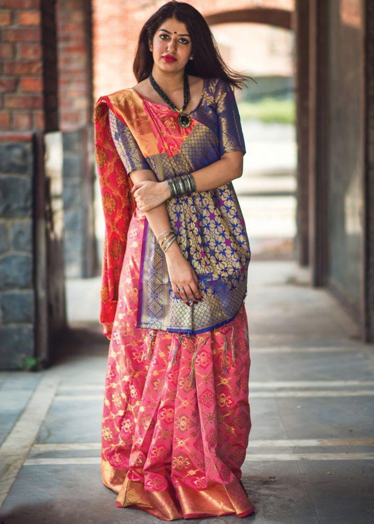 Gujrati saris en ligne en rose - Shopkund